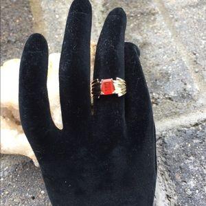 10K Gold Emerald Cut Orange CZ Ring 7